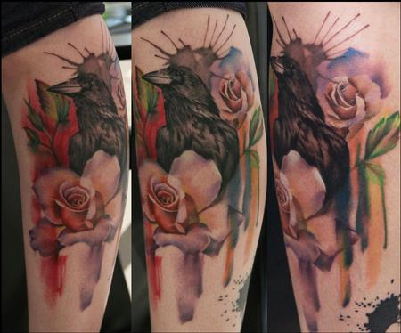 Lianne Moule - Crow and roses tattoo
