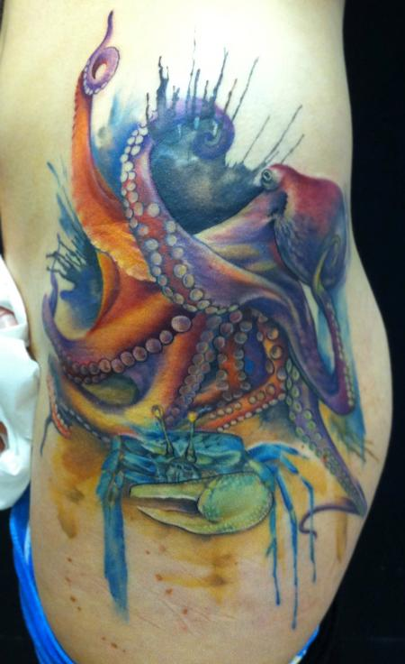 Lianne Moule - Octopus and crab tattoo