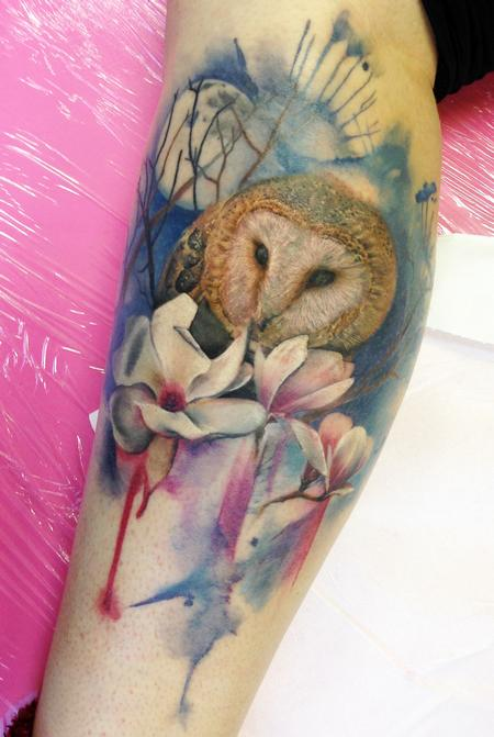 Owl and Flowers tattoo Tattoo Design Thumbnail