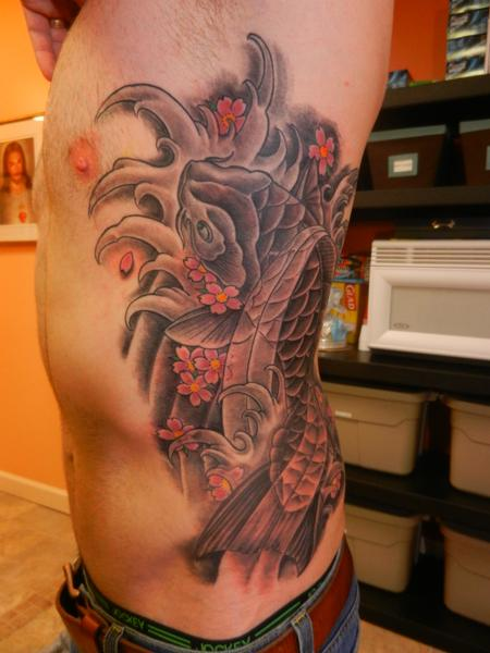 Tim MacNamara - Koi fish Rib Piece Tattoo