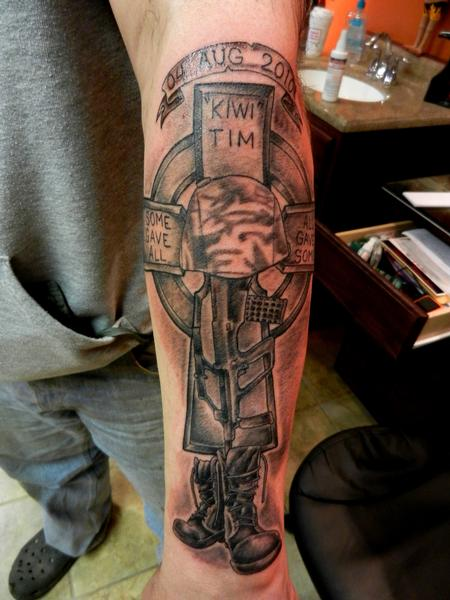 Fallen Soldier Battle Cross Tattoo Battlefield