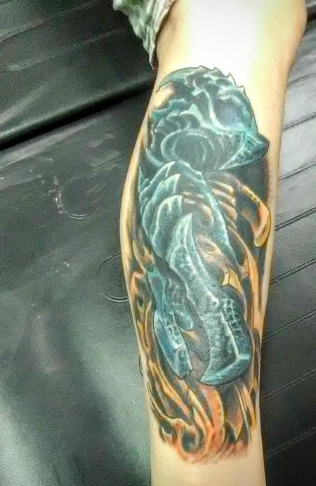 Bio mech cover up color tattoo Design Thumbnail