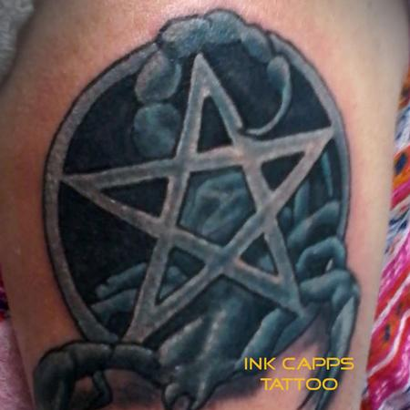 Tattoos - Pentagram scorpion in blue - 127799