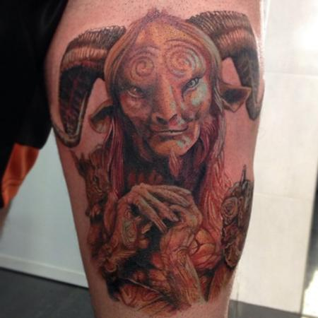 Tattoos - Realistic Pan's Labyrinth leg tattoo in colour - 89477