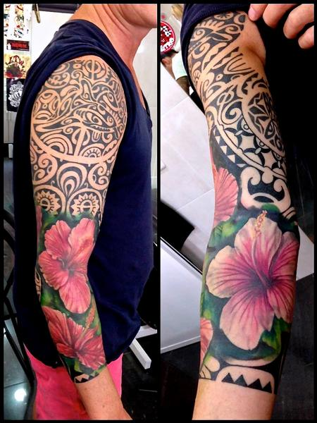 Tattoos - Realistic hibiscus flowers, Hawaiian inspired sleeve.  - 89148