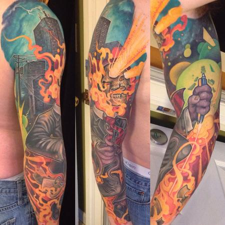 Matt Driscoll - Crazy fullcolor tattoo sleeve skyline laser skull