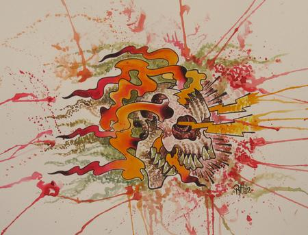 Robert Hendrickson - Skull lightening fire stippling water color painting