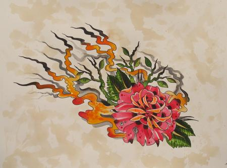 Robert Hendrickson - neo traditional rose water color on paper