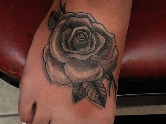 Devoted ink tattoos flower black and grey rose on foot for Black and gray rose tattoos