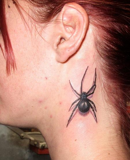 Robert Hendrickson - Black Widow Spider neck tattoo
