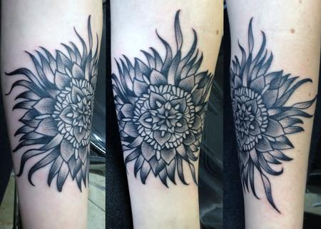 Tattoos - Sea inspired black flower tattoo  - 74361