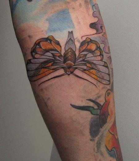 Robert Hendrickson - Stipple Colored Moth Tattoo