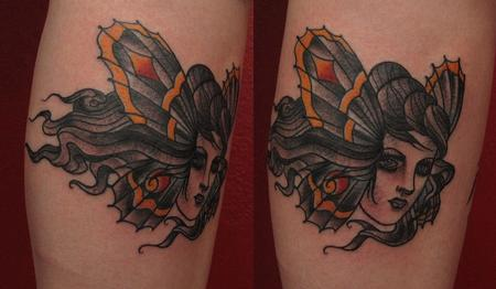 Robert Hendrickson - victorian moth lady tattoo
