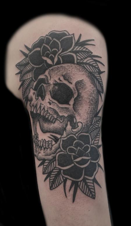 skull with black roses  Tattoo Design