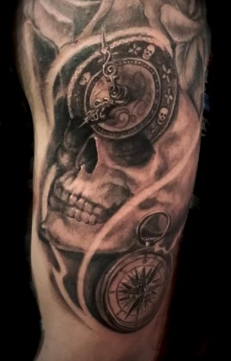 Luis Garcia - skull with compass and clock