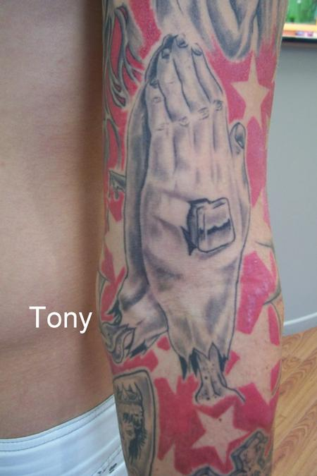 praying hands by tonz white tattoonow. Black Bedroom Furniture Sets. Home Design Ideas