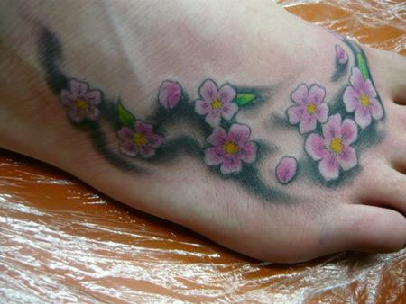 color cherry blossoms tattoo by tonz white tattoonow. Black Bedroom Furniture Sets. Home Design Ideas