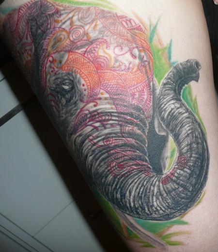 henna elephant by jeremy cook tattoonow. Black Bedroom Furniture Sets. Home Design Ideas