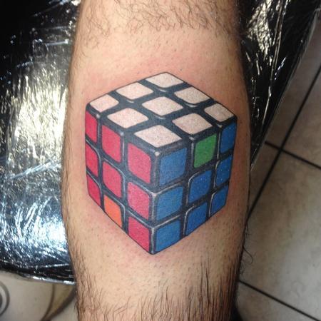 Tattoos - Color Rubik's Cube Tattoo - 117514