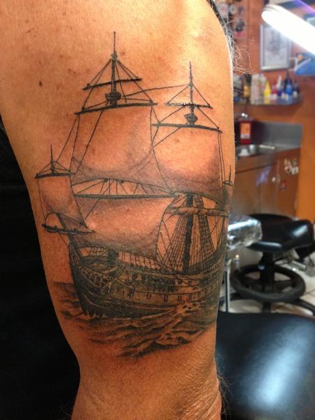 Tattoos - Black and Gray Ship Tattoo - 117556