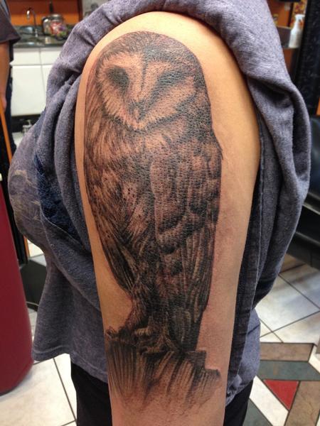 Tattoos - Black and Gray Owl Tattoo - 117555