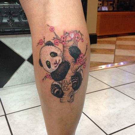 Tattoos - Panda in Tree Color Tattoo - 117512