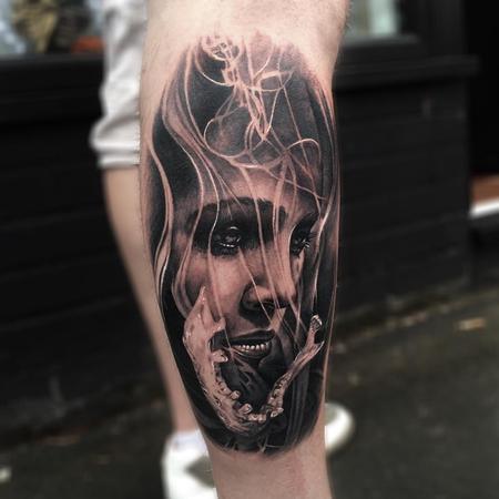 Smoke, Jaw, Woman Forearm Tattoo Design Thumbnail