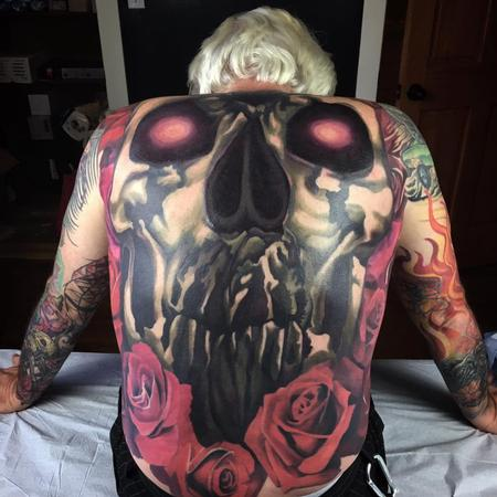 Jake Meeks - Skull and Roses Backpiece