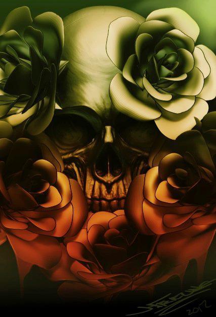 Tattoos - skull roses - 77478