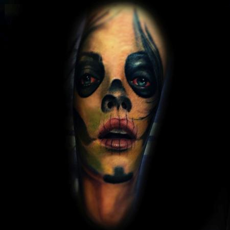 Tattoos - Day of Dead color portrait - 79248