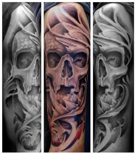 Skull Tattoo Half Sleeve Designs