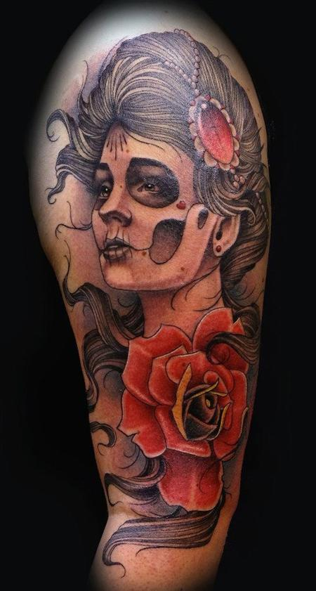 Neo Traditional day of the dead girl and rose Tattoo Design Thumbnail