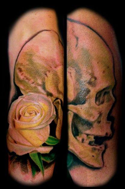 Tattoos - skull rose - 96216
