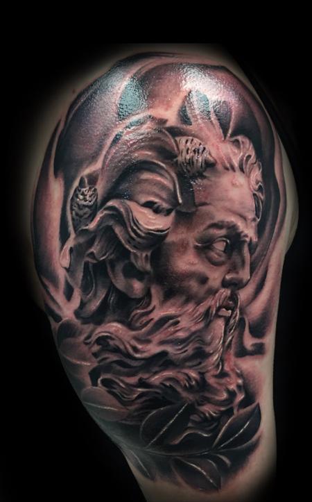 Jason Michalak - Zeus black and grey tattoo