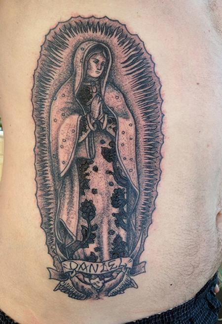 black dot work lady of guadalupe tattoo by jeff johnson tattoos. Black Bedroom Furniture Sets. Home Design Ideas