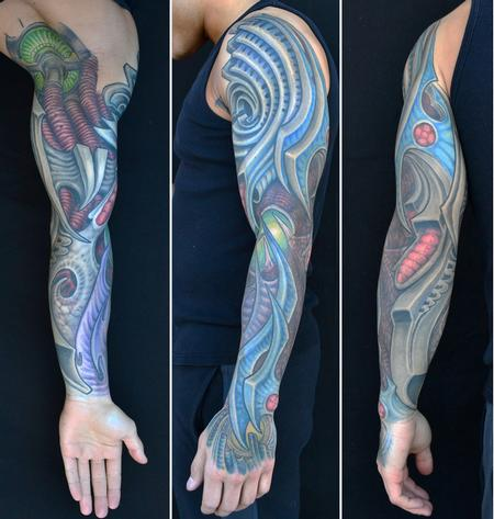 Jeff Johnson - Blue Biomech Sleeve Tattoo