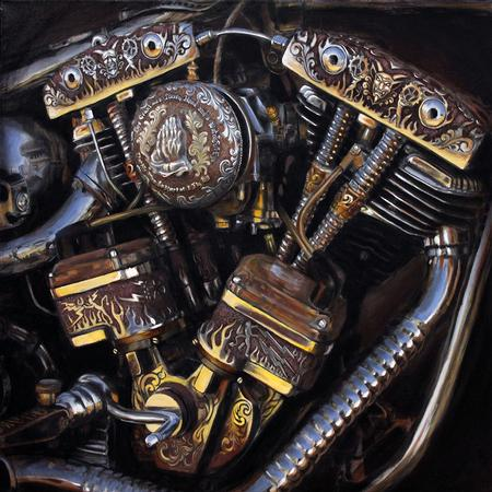 Jeff Johnson - Engraved Shovelhead Painting