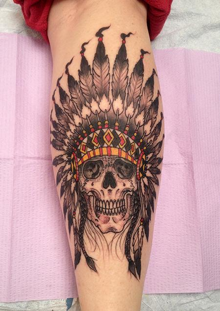 Jeff Johnson - Native American Skull and Headdress Tattoo