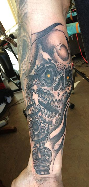 Jeff Johnson - Skull and Gun Tattoo