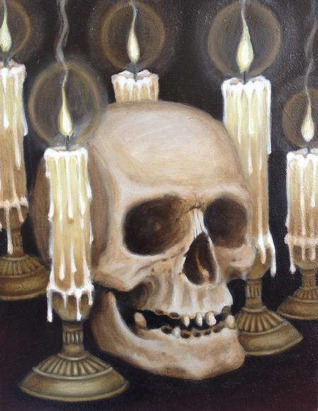 Skull and candles painting original art for Candle painting medium