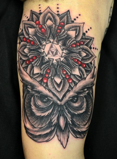 Jeff Johnson - Black and Grey Owl Mandala Tattoo