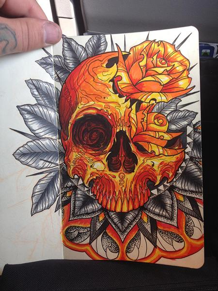 Jeff Johnson - Skull and Roses Sketch