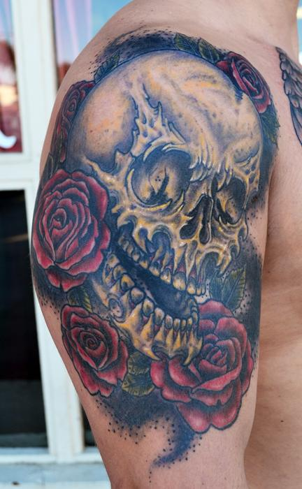 Jeff Johnson - Skull and Roses Tattoo