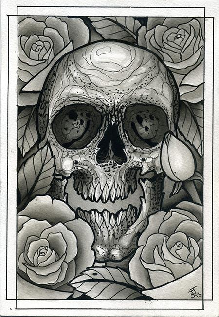 Jeff Johnson - Skull and Roses Watercolor