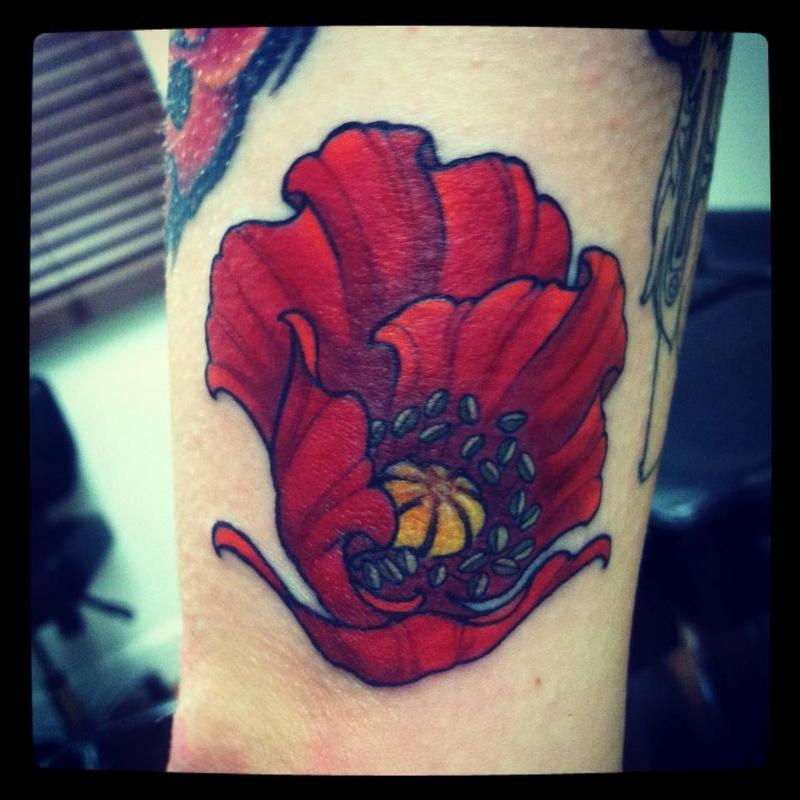 Art Nouveau Flower Tattoo: Jeff Norton Tattoos : Tattoos : Art Nouveau : Poppy Flower