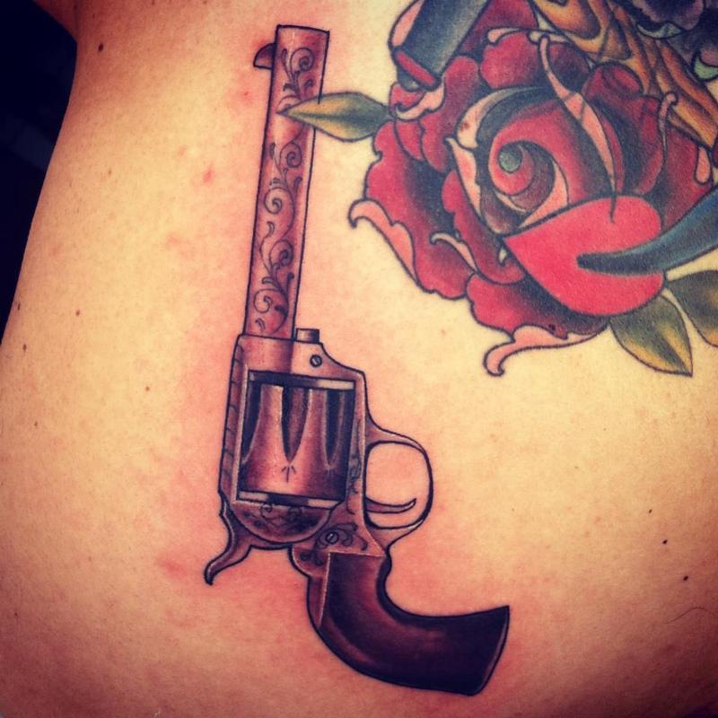 six shooter pistol by jeff norton tattoonow