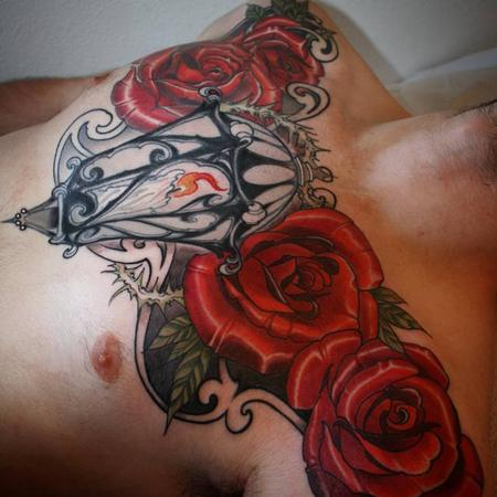 Lantern and rose chest piece  Tattoo Design