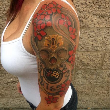 Tattoos - skull and clock  - 95963