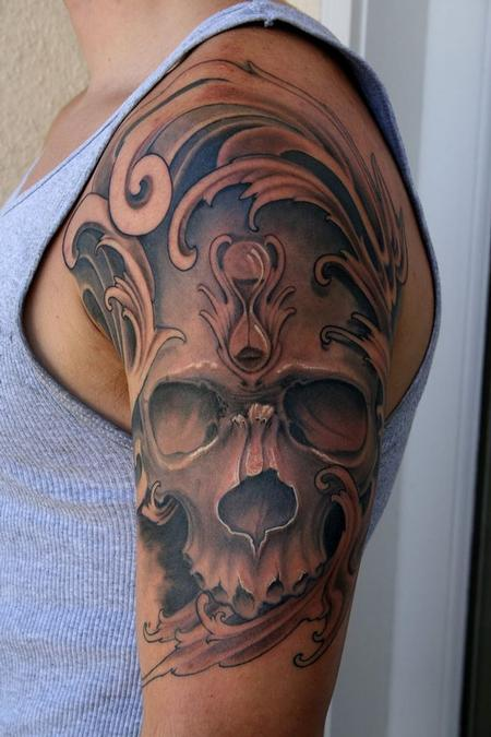black and grey skull and hourglass Tattoo Design Thumbnail