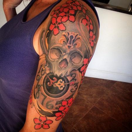 Tattoos - Skull and clock  - 95138
